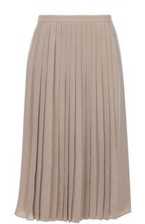 Шелковая плиссированная юбка-миди Ralph Lauren