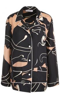 Шелковая блуза в пижамном стиле Valentino