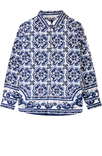 Хлопковая рубашка прямого кроя с принтом Dolce & Gabbana
