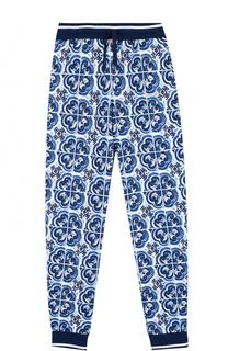 Хлопковые джоггеры с принтом и эластичными манжетами Dolce & Gabbana