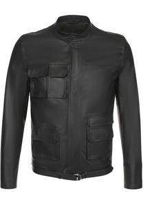 Кожаная куртка на молнии с воротником-стойкой Valentino