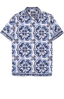 Хлопковая рубашка в пижамном стиле с принтом Dolce & Gabbana