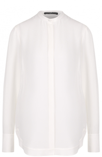 Шелковая блуза прямого кроя с воротником-стойкой Alexander McQueen