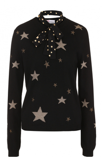 Пуловер с принтом в виде звезд и воротником аскот REDVALENTINO