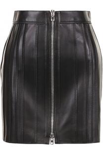 Кожаная мини-юбка с декоративной отделкой Givenchy