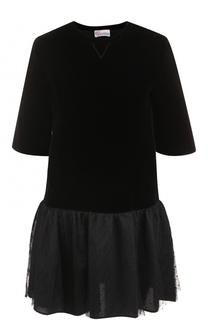 Мини-платье прямого кроя с укороченным рукавом REDVALENTINO