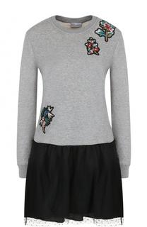 Мини-платье с длинным рукавом и контрастной юбкой REDVALENTINO