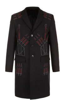 Шерстяное однобортное пальто с вышивкой Valentino