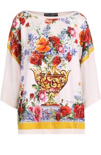 Шелковый топ свободного кроя с принтом Dolce & Gabbana