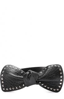 Кожаный ремень с декором в виде банта с заклепками REDVALENTINO