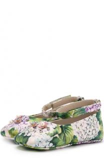 Текстильные пинетки с цветочным принтом и аппликацией Dolce & Gabbana