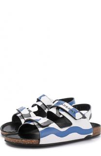 Кожаные сандалии с принтом на застежках велькро Burberry