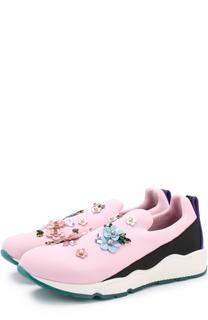 Текстильные кроссовки с цветочной аппликацией и кристаллами Dolce & Gabbana