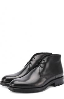 Кожаные ботинки на шнуровке с круглым мысом Brioni