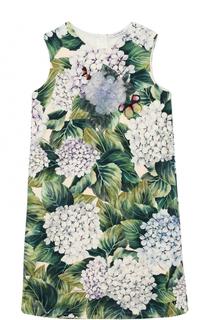 Хлопковое платье А-силуэта с цветочным принтом и аппликациями Dolce & Gabbana