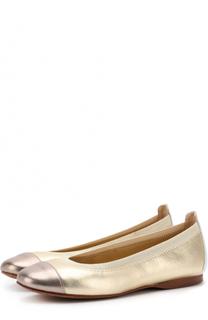 Комбинированные балетки из металлизированной кожи David Charles