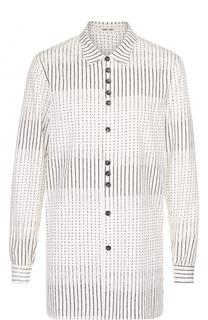 Удлиненная хлопковая рубашка с принтом Damir Doma