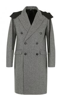 Двубортное пальто из смеси шерсти и кашемира с капюшоном No. 21