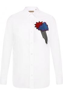 Хлопковая рубашка с контрастной отделкой Burberry