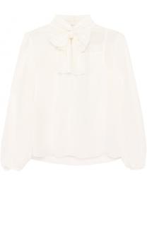 Шелковая блуза с воротником аскот и топом Dolce & Gabbana