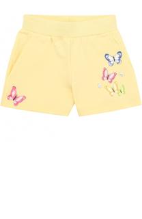 Хлопковые мини-шорты с вышивкой и аппликациями Monnalisa