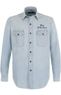 Хлопковая рубашка с контрастной отделкой Polo Ralph Lauren