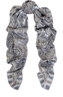 Платок из смеси кашемира и шелка с принтом Michele Binda