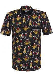 Рубашка из смеси хлопка и шелка с короткими рукавами Dolce & Gabbana