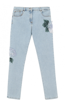 Джинсы прямого кроя с цветочной аппликацией Dolce & Gabbana