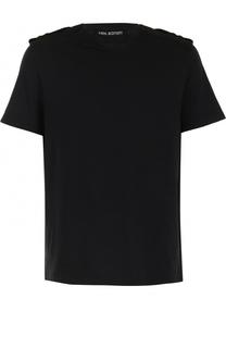 Хлопковая футболка свободного кроя с погонами Neil Barrett
