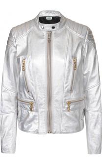 Кожаная куртка с металлизированной отделкой и принтом на спинке Kenzo
