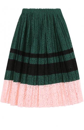Кружевная плиссированная юбка-миди No. 21
