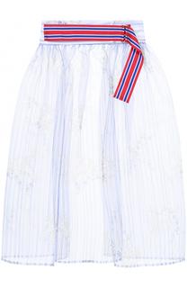 Шелковая полупрозрачная юбка с широким поясом Stella Jean