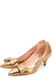 Туфли из металлизированной кожи с бантом Rochas