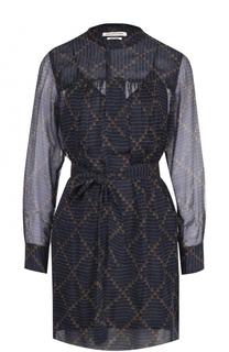 Шелковое мини-платье с поясом и круглым вырезом Isabel Marant Etoile