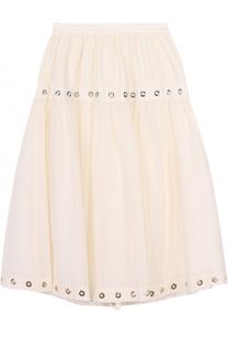 Хлопковая юбка-миди с металлизированной отделкой Kenzo