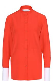 Шелковая блуза с воротником-стойкой Victoria by Victoria Beckham