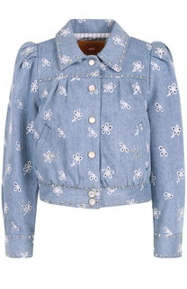 Джинсовая куртка с вышивкой и рукавом-фонарик Marc Jacobs
