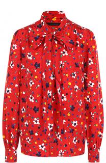 Шелковая блуза с принтом и воротником аскот Marc Jacobs
