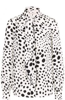 Шелковая блуза в горох с воротником аскот Marc Jacobs