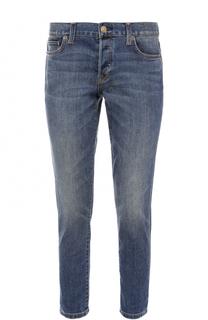 Укороченные джинсы прямого кроя с потертостями Burberry