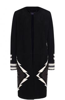 Замшевое пальто прямого кроя с контрастной отделкой Ralph Lauren