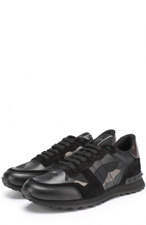 Комбинированные кроссовки Rockstud с камуфляжным принтом Valentino