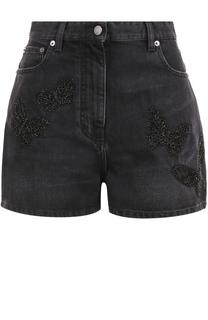 Джинсовые мини-шорты с вышивкой Valentino