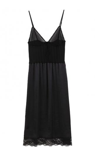 Приталенное платье-комбинация с кружевной отделкой MCQ
