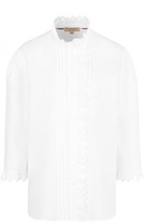 Льняная блуза с воротником-стойкой и укороченным рукавом Burberry