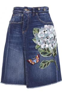 Джинсовая юбка-миди с фактурной отделкой Dolce & Gabbana
