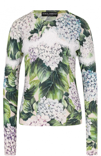 Кашемировый пуловер с цветочным принтом и кружевом Dolce & Gabbana