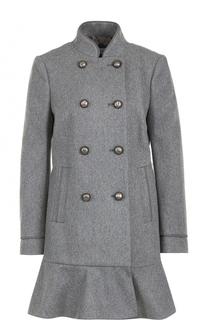 Двубортное пальто с оборкой REDVALENTINO