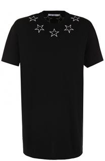 Удлиненная хлопковая футболка с нашивками Givenchy